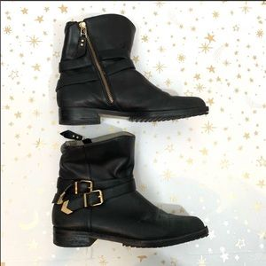 Matt Bernson | Leather Vox Gold Buckle Booties
